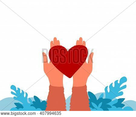 Hands Holding Heart. Charity And Donation Concept. Work Of Volunteers And Philanthropy Banner. Carto