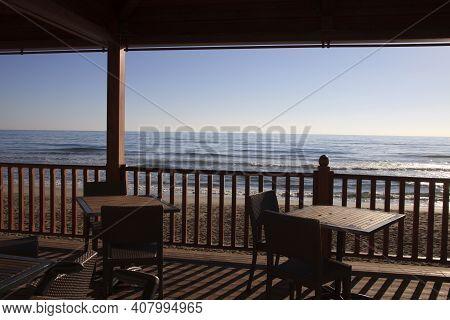 Alassio (sv), Italy - February 15, 2017: A Typical Bar Near The Beach In Alassio, Riviera Dei Fiori,