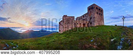 Summer Pip Ivan Mountain Top With Fortress - Observatory Ruins (chornogora Ridge, Carpathian, Ukrain