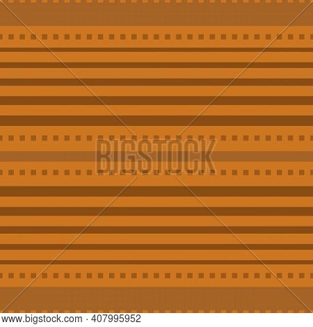 Vector Stitch Stripe Effect Seamless Pattern Background. Ochre Backdrop With Horizontal Stripes And