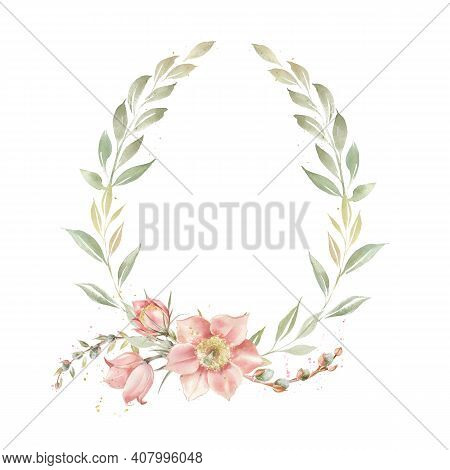 Easter Wreath With Primrose Flowers And Greenery Branches. Vintage Frame For Invitations Or Postcard