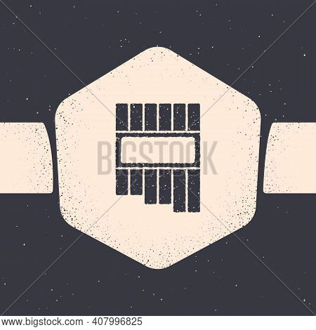 Grunge Pan Flute Icon Isolated On Grey Background. Traditional Peruvian Musical Instrument. Zampona.