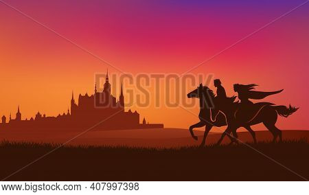 Prince And Princess Riding Horses In The Sunset Field With Ancient Medieval Castle Town In The Backg