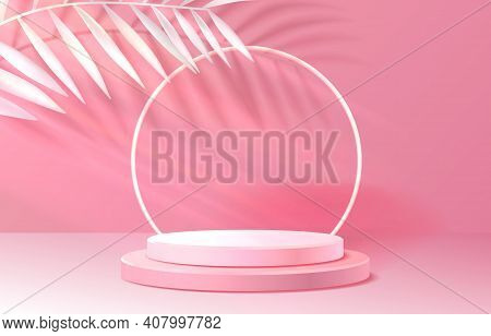 Nature Stage Podium With Lighting, Stage Podium Scene With For Award Ceremony On Color Background. V