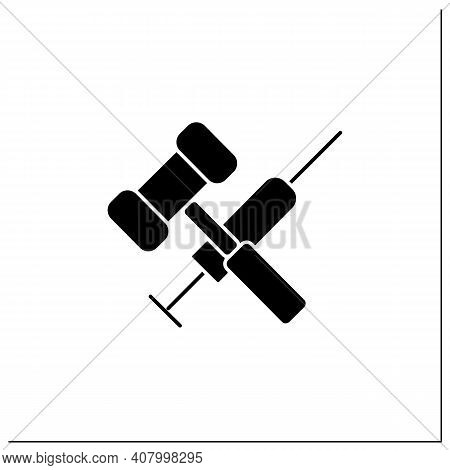 Vaccination Law Glyph Icon. Stop Mandatory Vaccination. Judge Gavel And Syringe. Legal Requirements