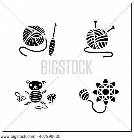 Craft Hobby Set Glyph Icons. Handmade And Homemade Concept. Consist Of Crochet Basics, Tatting, Knit