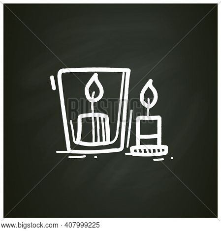 Handmade Candles Chalk Icon. Create Your Own Candles Using Dry Flowers. Enjoy The Beautiful Light Of