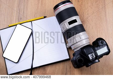 Photography Courses On Mock Up White Empty Space Smartphone Screen. Web Class, Tutorials For Photogr