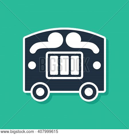 Blue Circus Wagon Icon Isolated On Green Background. Circus Trailer, Wagon Wheel. Vector
