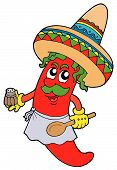 Mexican chilli chef with wooden spoon - vector illustration. poster