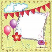 Scalable vectorial image representing a digital scrapbook layout photo frames with bird cage. poster
