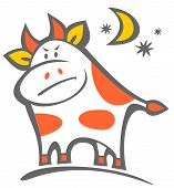Angry cartoon bull isolated on a white background. poster