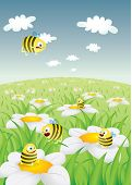Daisy Field With Funny Bees vector illustration poster