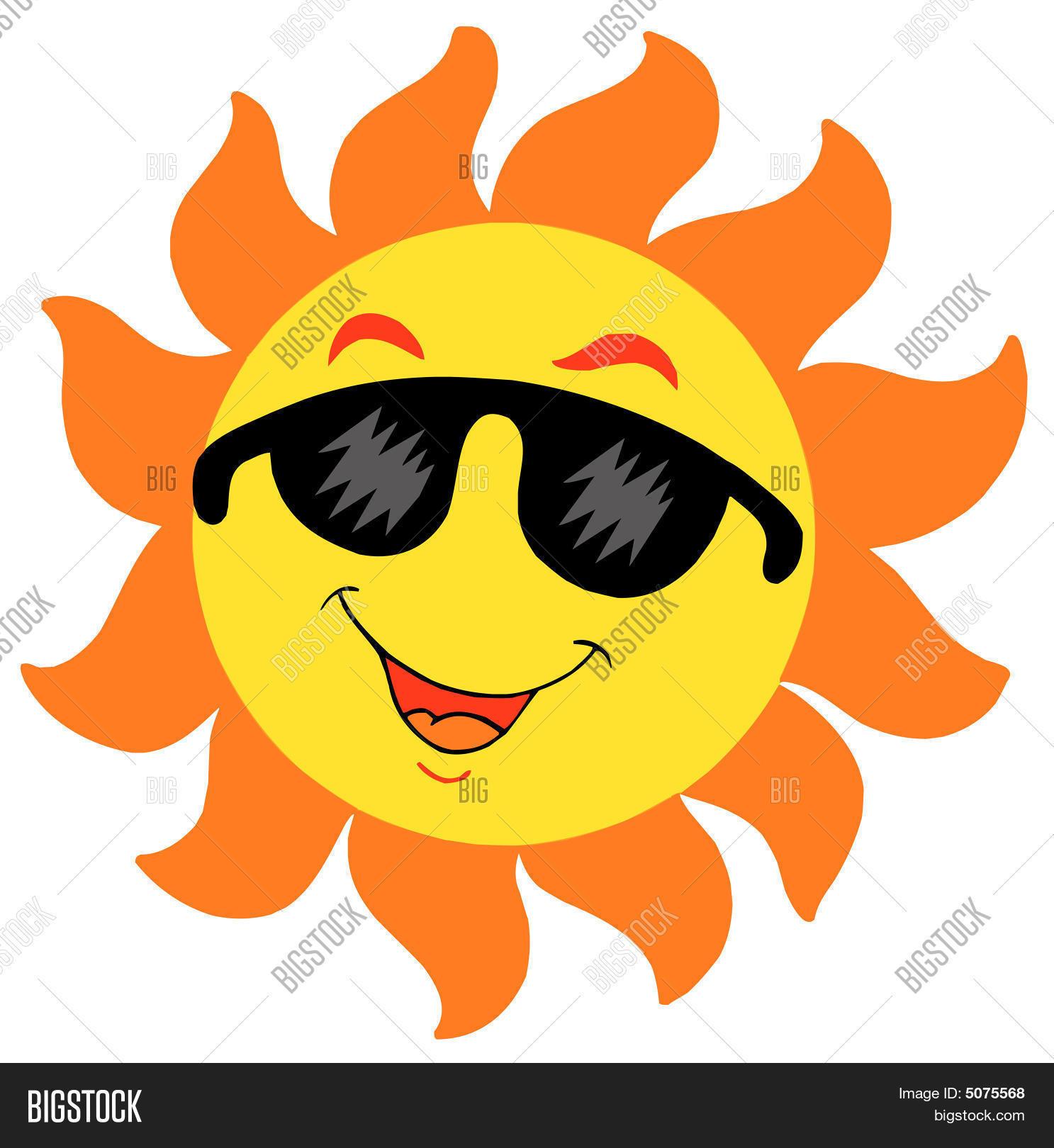 Cartoon sun sunglasses vector photo bigstock