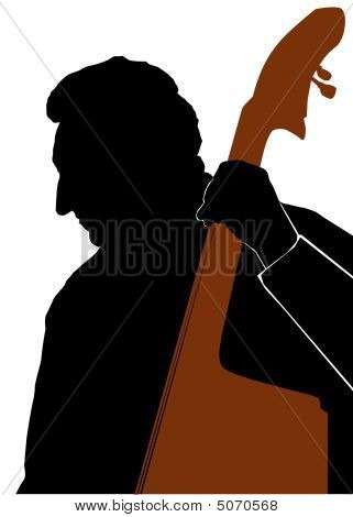 Man Playing Double Bass Or Contrabass