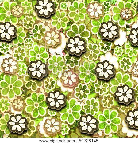 Yellow Grunge Graphic Flower Pattern