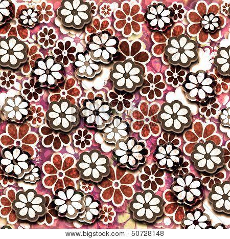 Red Grunge Graphic Flower Pattern
