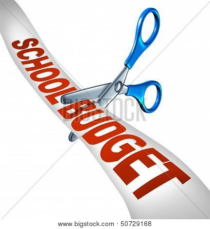School budget cuts symbol for reducing budgeted education expenditures by slashing music and arts programs and eliminating financial surplus represented by student scissors cutting a receipt like ribbon as an icon of teaching cutbacks. poster