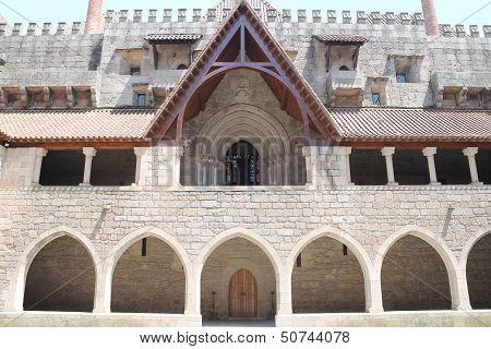 GUIMARAES - July 7:Dukes of Braganza palace's courtyard & chapel entrance portico