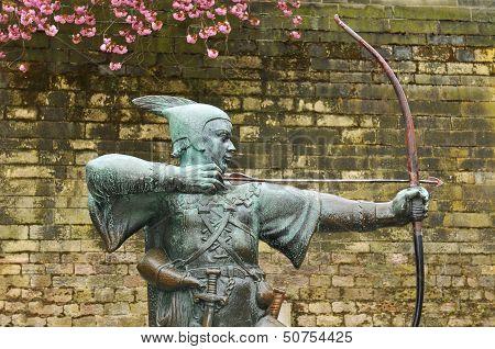Robin Hood statue in front of Nottingham Castle (United Kingdom) poster