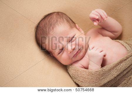 A 3 week old fussy newborn baby boy. Shot in the studio on a beige blanket. poster