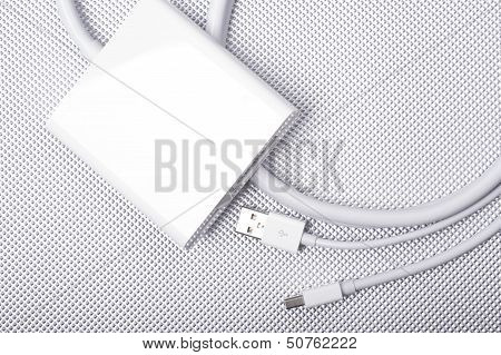 Dual-Link DVI Adapter for Laptop Computer. Elegant White Design. Mini DVI and USB Cables. Required Adapter for Laptop to External Screen Connection. poster