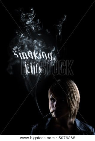 "Young Women Smokes And In The Smoke Appears ""smoking Kills"""