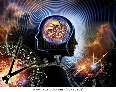 Background design of human feature lines and symbolic elements on the subject of human mind consciousness imagination science and creativity poster