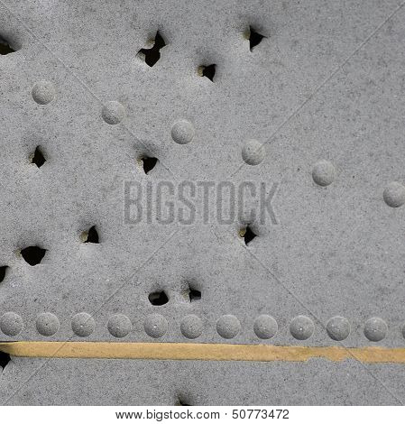 Damaged Metallic Background Texture With Holes
