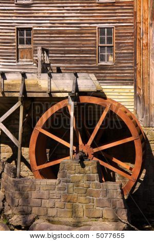 Rustic Wheel On Water Mill