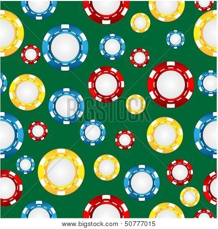seamless pattern of the game of casino chips poster