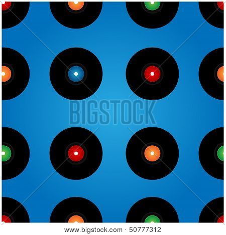 Seamless Pattern Of Vinyl Records