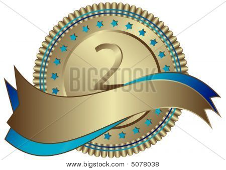 Silvery Plate With Ribbons And Blue Stars