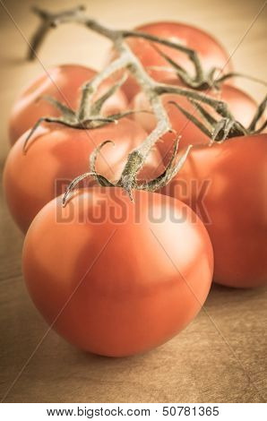 Vintage Vine Tomatoes On Table