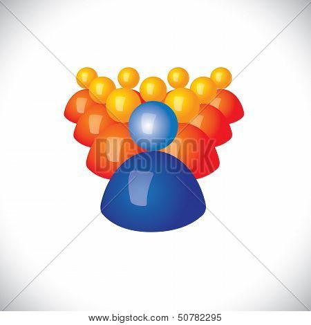 Colorful 3D Icons Or Signs Of Community Members & Leader - Vector Graphic