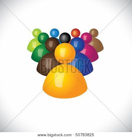 colorful 3d icons or signs of office staff or employees - vector graphic. This illustration also represents community members leadership & team winner and losers political leader & followers poster