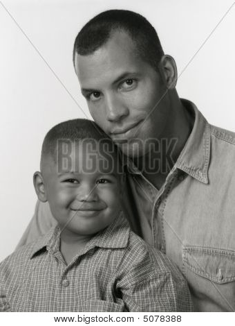 Black And White Portrait Of African American Father Son