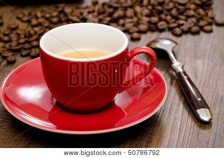 Close Up Red Cup Of Espresso Coffee