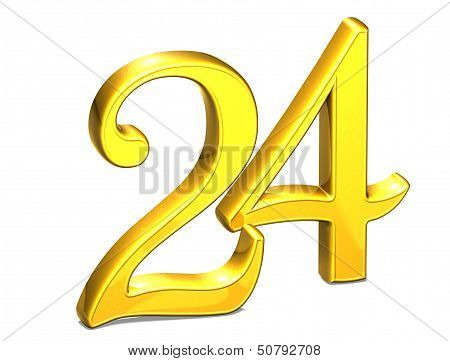 3D Gold Number Twenty-four On White Background