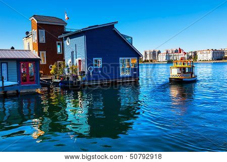 Floating Home Village Water Taxi Blue Houseboats Fisherman's Wharf Reflection Inner Harbor, Victoria