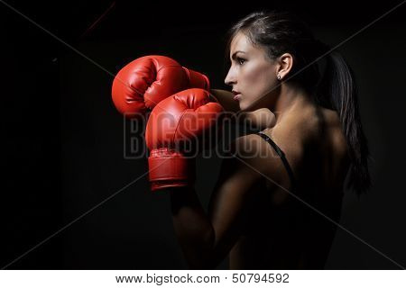 beautiful woman boxing