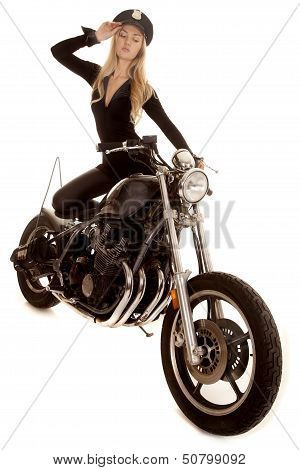 Woman Cop Motorcycle Hand By Hat Stand