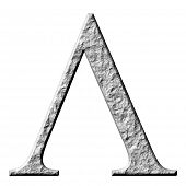 3d stone Greek letter Lambda isolated in white poster