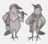 Cute cartoon hipster crows with fasionable clothes poster