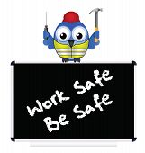 Construction work safe be safe message isolated on white background poster