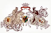 Vector illustration in vintage style with heraldic knights on horses poster