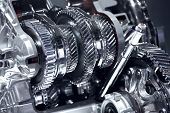 Stainless Car Transmission Elements - Car Transmission Closeup. poster