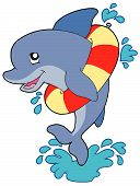 Dolphin with inflatable ring on white background - vector illustration. poster