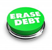 A green button with the words Erase Debt on it poster