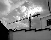 this is a crane in a construction site in ilford. poster